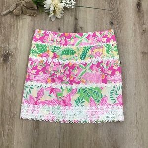 Lilly Pulitzer Jungle Party Print Skirt Lace Trim